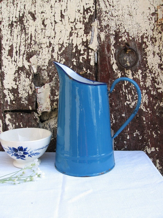 Blue and white French enamel pitcher