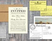 Vintage TYPE Wedding Invitation Set
