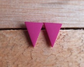 Triangle Studs - Raspberry