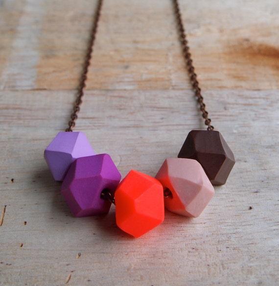 Autumn Purple Geo Pop Necklace