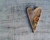 Heart magnet: Valentine Day decor, Valentine gift shabby chic old postcard