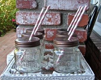Star Cut Mason Jar Lids With 8 Ounce Square Mason Jars - Pewter or Bronze - 6 Sets Jar and Lid