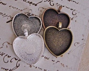 Discount - Clearance -DIY Pendant - Cabochon Settings With Clear Glass Cabochons - 25mm Heart Bezel - Your Finishes - Assortable - Ten Sets