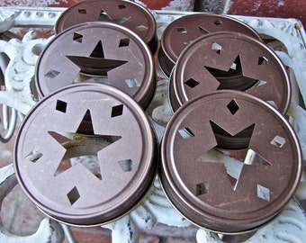 Star Mason Jar Lids - Bronze 6  Lids Only--SC6
