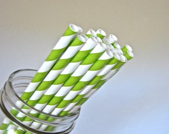 Straws -  25 Apple Green And White Striped Paper Straws
