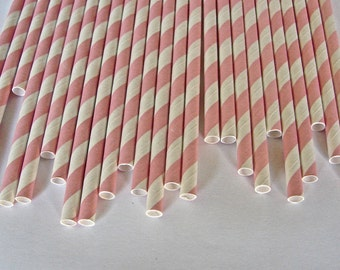 Color Your Party -  25 Pink And White Striped Paper Straws