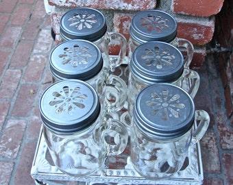 Mason Jar Mugs With Handles and Daisy Cut Mason Jar Lids -Your Choice Of Color - 6 Mugs - 6  Lids....MMP-6