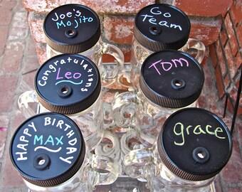Mason Jar Mugs  With Handles Chalkboard Spill Resistant Lids And BPA Free Reusable Straws ----12 Sets----MCBL12----