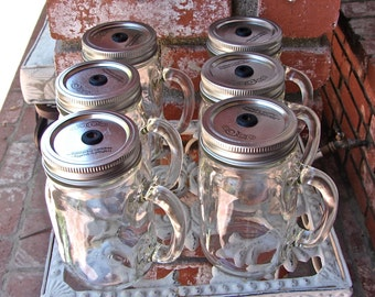 Discount 12 - 16 OZ Mason Jar Mugs  With Handles ,Spillproof Commuter Lids, and Straws....  ---MML-12-1A