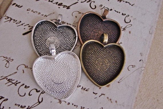 25mm Heart Bezel Cabochon Settings With Clear Glass Cabochons - Choose Your Finishes - Assortable - Ten Sets