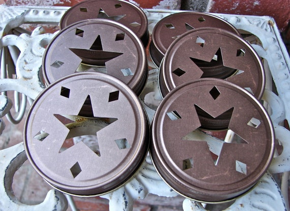 Star Mason Jar Lids - Bronze 6  Lids Only--SC-6