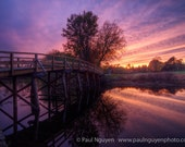 North Bridge photograph print, 4x6 print matted on white 5x7 mat.  North Bridge in Concord, MA, USA with a blazing sunset and reflection