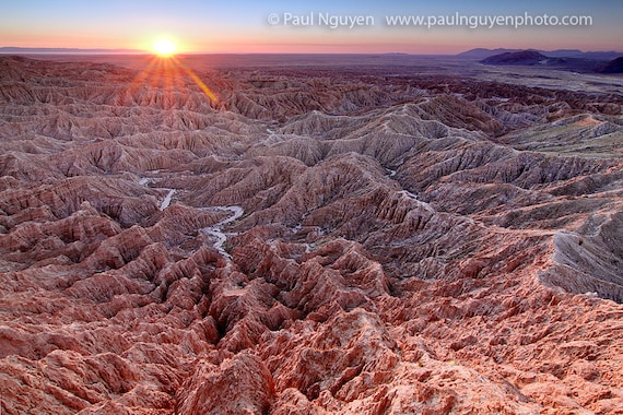 Badlands Desert Sunrise photograph, 8x12 print matted on white 12x16 mat.  Anza Borrego Canyon mountain badlands, California, at sunrise