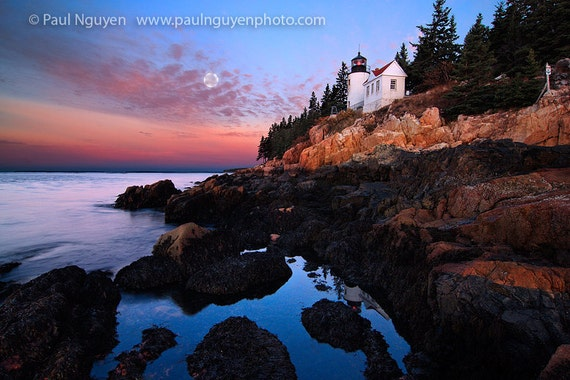 Lighthouse photograph print, 8x12 print matted on white 12x16 mat.  Bass Harbor Lighthouse on cliffs at dawn with full moon