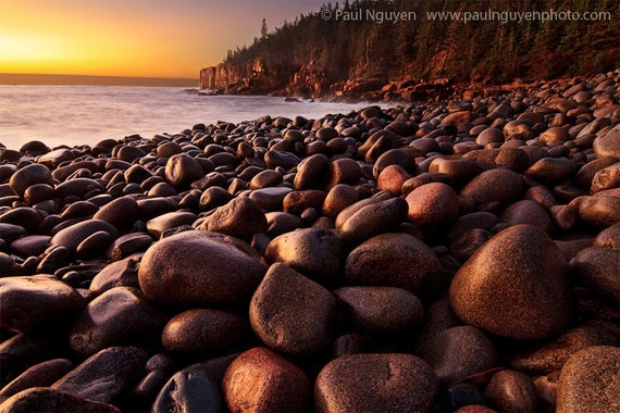Otter Cliff photograph print, 8x12 print matted on white 12x16 mat.  Cobble beach, smooth rocks at sunrise, with cliff in background