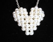 Pearl Bridal Heart Necklace, White Swarovski Crystal Pearls