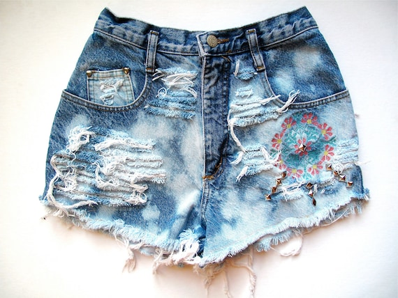 High Waisted/Studded, Embroidered, & Destroyed/ Blue, Bleach Splattered