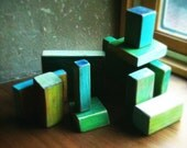 Painted Wood Building Blocks - Oceanic Palette