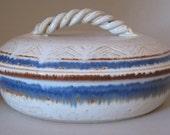 Tortilla Warmer in Cobalt and Iron, Lidded Casserole, Handmade Pottery