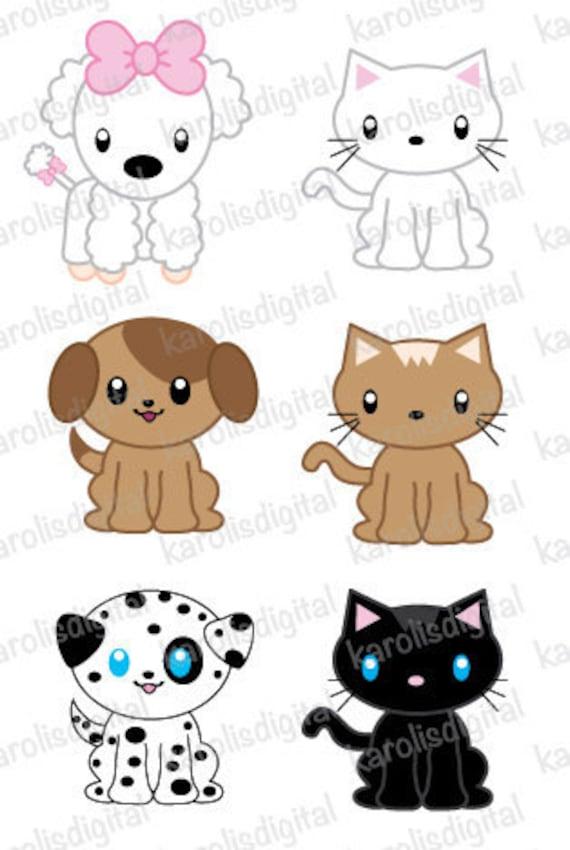 Cute pets dog and cat clip art 6 digital clip art set