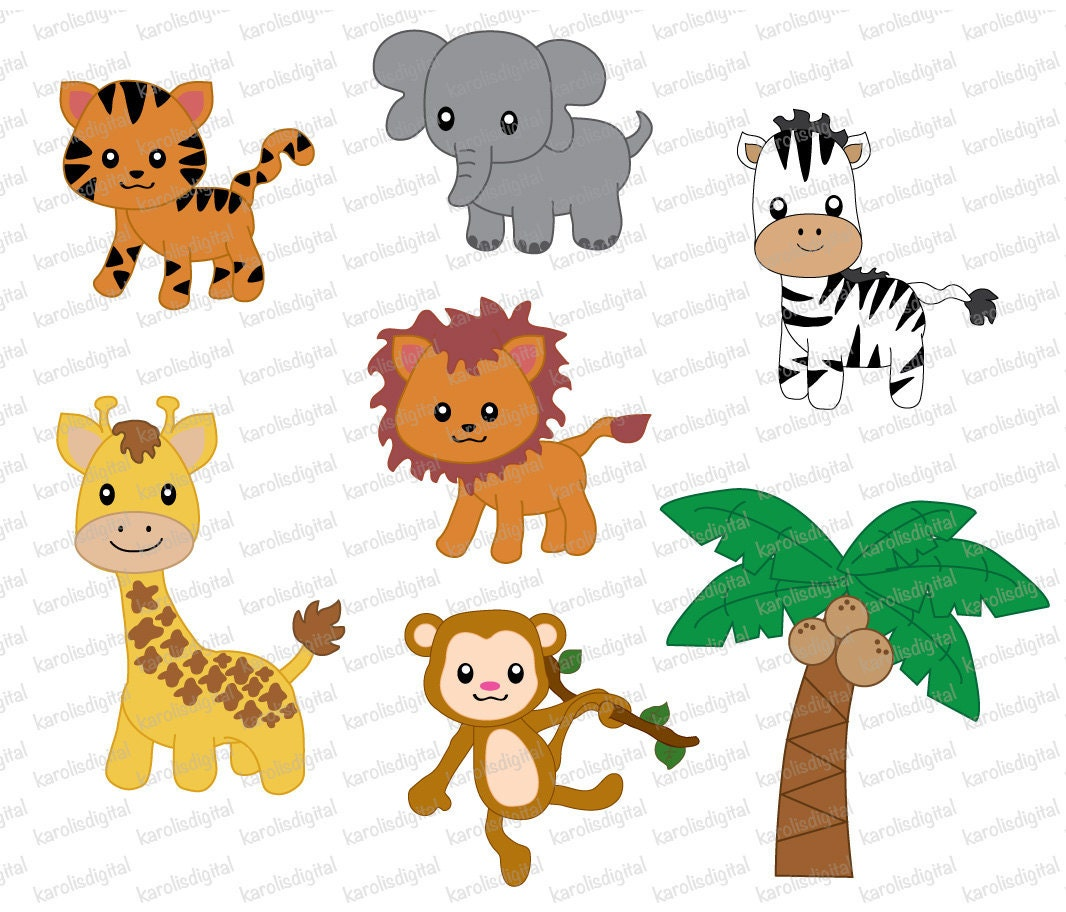 animals jungle clip clipart cute baby digital background backgrounds etsy zoo safar animal transparent rainforest order cliparts receive shown each