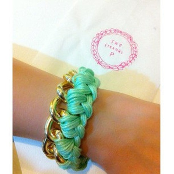 mint green woven gold chain bracelet