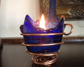 Blue Flame Olive Oil Lamp/Candle Holder