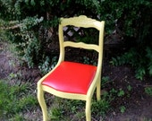 Pretty Yellow painted chair with Rose detail and Red vinyl upholstered seat