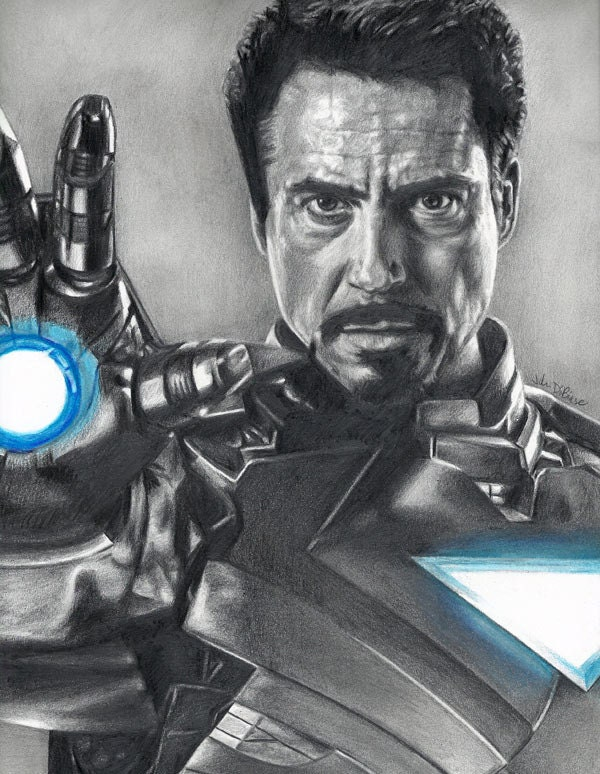 Robert Downey jr Iron Man Drawing