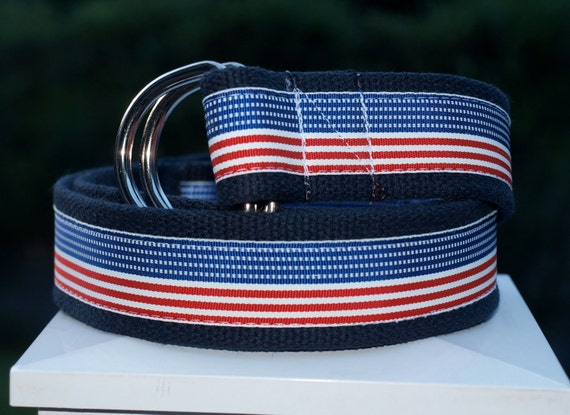 American Flag Belt / Fourth of July / Preppy Belt / Patriotic Belt / Mens Belt / Ribbon Belt / D ring Belt