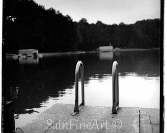 "Uncle Cecil's Dock - Black and White - Landscape - Fine Art Photography 8""X8"""