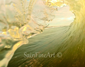 "Golden View - Ocean Art - Wave Art - Surf Art - Fine Art Photography  8""X10"" - Home Decor"