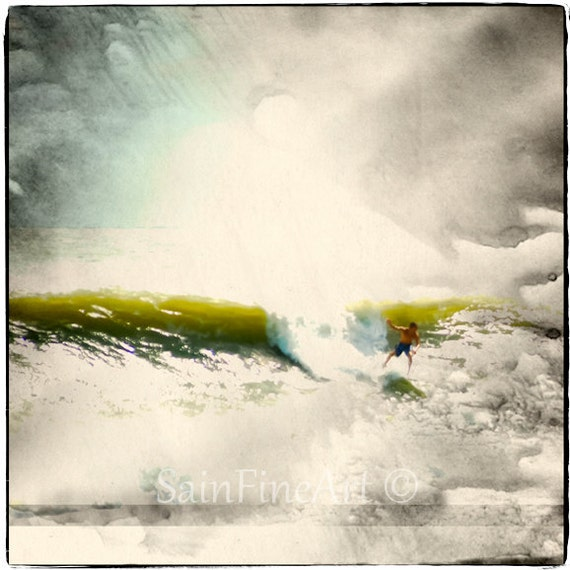"Cloud Surfing - Surf Art - Retro - Fine Art Photography  8""X8"" - Vintage - Home Decor"