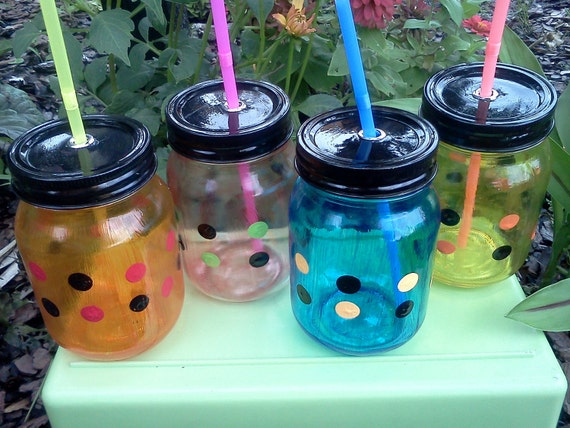 FOUR 16oz Mason Jar Sippy Cups - Multi Colors - Polka Dot Design