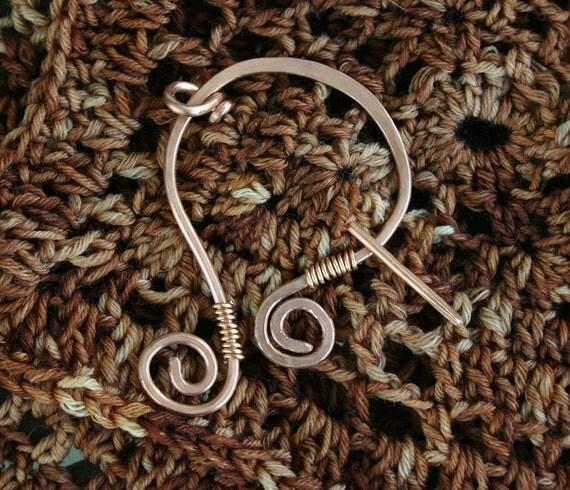 Copper Penannular Style Shawl Pin