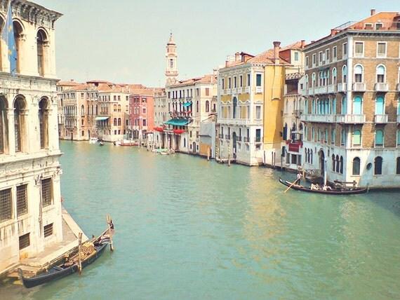 Venice Pastels- 8x10 Art Print Photo - Italy Art, Home Decor - Candy Colors, Pastels, Whimsy - Seafoam, Peach, Mint - Italian, Boat, Gondola