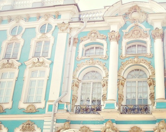 Russian Palace - 8x10 Art Photo Print - Europe Travel, Blue, Robin Egg - Gold, Architecture, Pastels - Castle, Palace, Rococo, Romantic Love