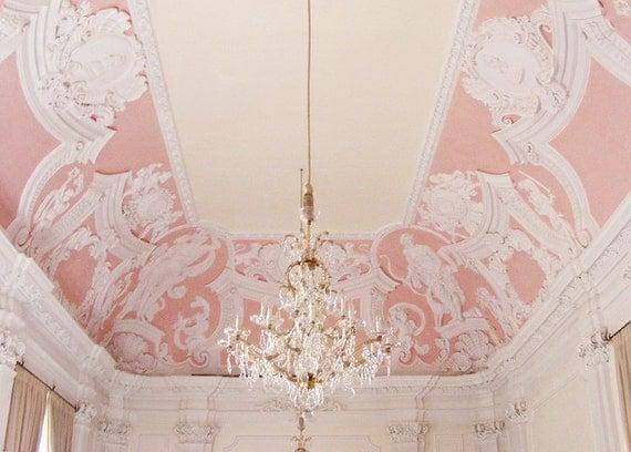 Pastel Pink 8x10 Print, Germany Chandelier- Baroque, Detail, Crystal, Light, Pink, Soft, Pastel - Fairytale, Windows, White, German, Travel