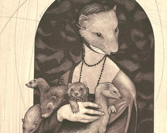 Lady Musteline - original etching of a masked young woman with ferrets by Carrie Lingscheit
