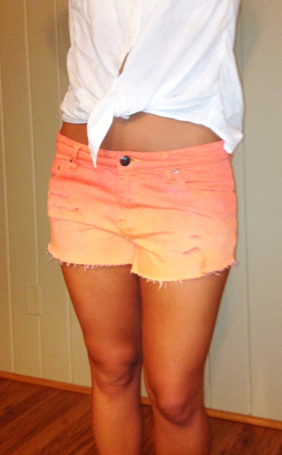 Coral Ombre Studded Jean Shorts