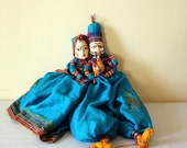 Indian dolls, Bright Blue, Couple,  String puppets,  Rajasthani, Size 18''