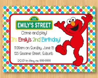 Elmo Printable Birthday Party Invitation - 5 x 7 - Sesame Street