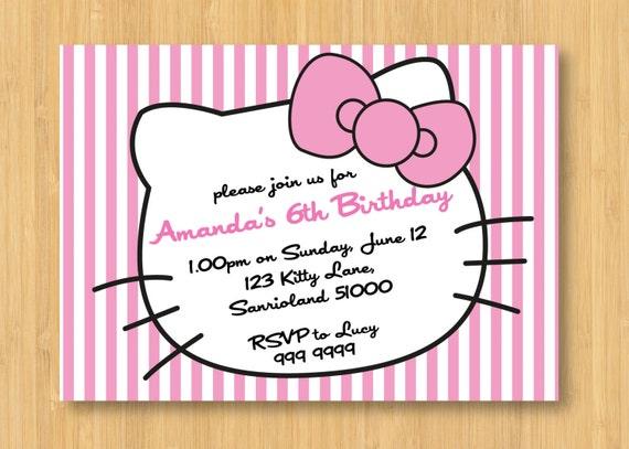 Hello Kitty Printable Birthday Party Invitation – Hello Kitty Printable Birthday Invitations