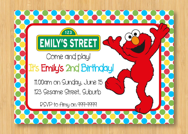 zoom - Elmo Birthday Party Invitations