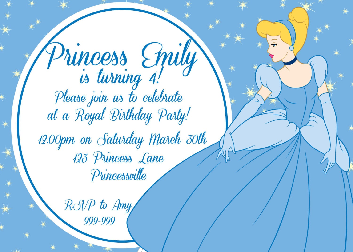 cinderella printable party birthday invitation personalized. Black Bedroom Furniture Sets. Home Design Ideas