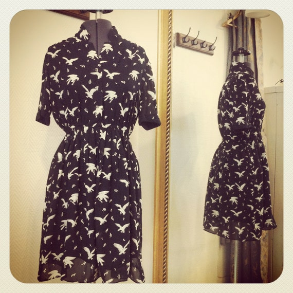Eagles birds animal vintage dress / Smiley Vintage / S-M