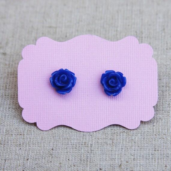 Dark Blue Rose Studs