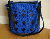CLEARANCE Blue Crochet and knit purse