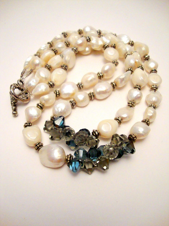 Freshwater Pearl and Crystal Necklace, Blue Crystals, Multi Strand Beaded Necklace