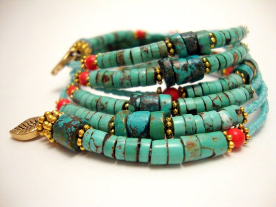 Turquoise and Coral Beaded Bracelet, Memory Wire Bracelet, Gemstone Wrap Bracelet